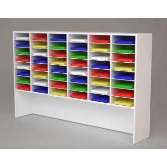 """Custom Mail and Office Furniture - 74-1/4""""W Custom Wood Sorter and Riser - 48 Pockets."""