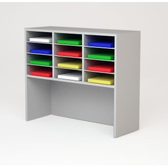 """Custom Mail Room And Office Furniture - 37-1/2""""W Custom Wood Sorter and Riser - 12 Pockets"""
