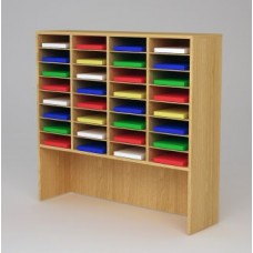 "Custom Mail Room And Office Furniture - 49-3/4""W Custom Wood Sorter and Riser - 32 Pocket."