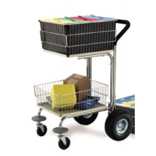 Mail Room and Office Carts Compact Wire Basket Mail Cart with Cushion Grip, Rear Air Tires and Front Bumpers