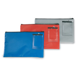 "Mailroom Supplies Vinyl Round Trip Mail Pouch 18""L x 14""H - Blue"