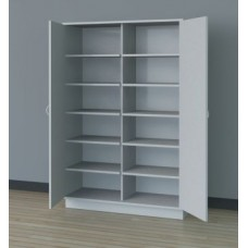 "48""W, 6 Opening Wooden Locking Storage Cabinet"