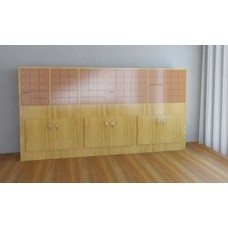 Large Laminated Wood Cabinet with Doors - with Mailboxes