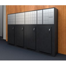 Large Laminated Wood Cabinet with Storage Doors and Mailboxes