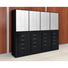 Laminated Wood Cabinet with Pull-Out Storage - With Mailboxes