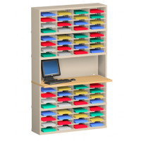 "Charnstrom Mail Room Furniture and Office Organizers  64 Pocket Mail Sorter 48""W X 15-3/4""D"