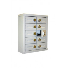 "Mail Room and Office Security 9""D - 10 Door, Locking Cell Phone Cabinet with Combination Locks"
