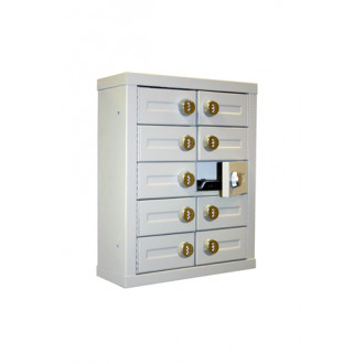 """Mail Room and Office Security 5""""D - 10 Door, Locking Cell Phone Cabinet with Combination Locks"""
