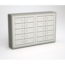 "Mail Room and Office Security cabinets 9""D - 20 Door, Locking Cell Phone Cabinet with Wood Trim"