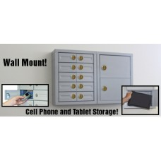 "5""D - 10 Door Cell Phone Cabinet and 2 Door Tablet Cabinet with Combination Locks"