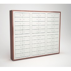 "Mail Room and Office Security Cabinets 9""D - 60 Door,Cell Phone Cabinet with Wood Trim"