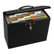 Mail Room Supplies - Locking Steel Security File Box/Briefcase - Black