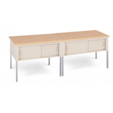 "Office and Mail Room Tables 96""W x 20""D Standard Adjustable Height Table with Sliding Locking Door"