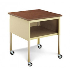 "Mail Room Adjustable Height Mobile 30""W x 30""D Standard Corner Table with Lower Shelf and Casters"