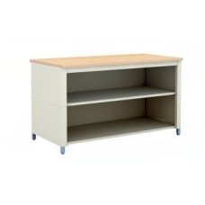 "Mailroom and Office Furniture Table 72""W x 36""D Extra Deep Storage Adjustable Height Table With Center Shelf"