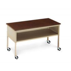 """Mailroom or Office Furniture Mobile Table  60""""W x 36""""D Standard Adjustable Height Table with Lower Shelf and Casters"""