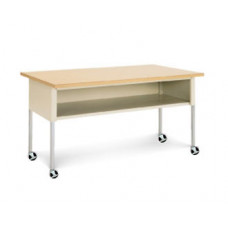 "Mail Room and Office Furniture Mobile Table  72""W x 36""D Standard Adjustable Height Table with Lower Shelf and Casters"