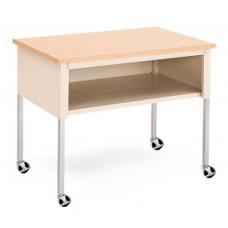 "Office and Mail Room Furniture Mobile 48""W x 20""D Standard Adjustable Height Table with Lower Shelf and Casters"