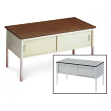 "Mail Room or Office Work Table 60""W x 20""D Standard Adjusatble Height Table With Sliding Locking Door"