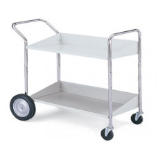 Mail Room and Office Carts Long, Two Shelf Mobile Bin Mail Distribution Cart