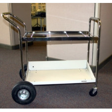 Mail Room and Office Supplies Medium Frame Mail Distribution Cart with Lower Metal Shelf with Air Tires