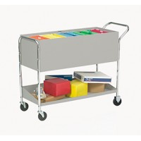 "Long Solid Metal Cart with 4"" Caster"