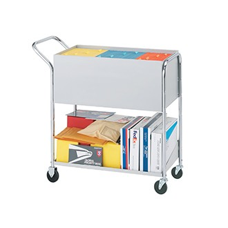 "Medium Solid Metal Mail Distribution Cart with 4"" Casters"