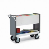 "Long Solid Metal Mail Room Delivery Cart with 8"" Tires"