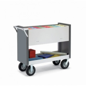 """Long Solid Metal Mail Room Delivery Cart with 8"""" Tires"""