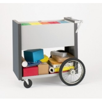 """Medium Solid Metal Mail Delivery and File Cart with 16"""" Rear Wheels"""