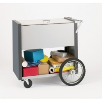 """Medium Solid Metal Mail and File Cart with 16"""" Rear Wheels with Locking Top"""