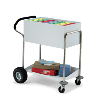 Medium Solid Metal Mail Delivery and File Cart With Ergo Handle and Rear Air Tires