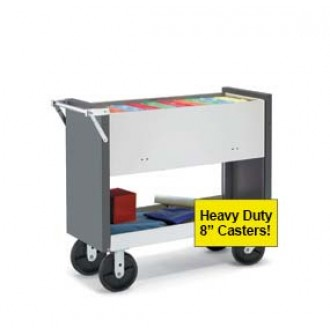 "Long Solid Metal Mail and File Cart with 8"" Hard Rubber Casters and Locking Top"