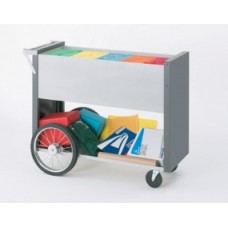 "Long Solid Metal Mail Distribution Cart with 16"" Rear Wheels"