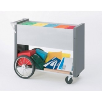 """Long Solid Metal Mail Distribution Cart with 16"""" Rear Wheels"""
