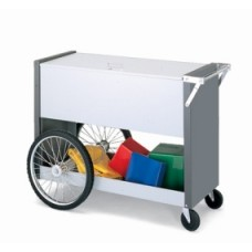 "Long Solid Metal Mail Distribution Cart with 16"" Rear Tires and Locking Top"