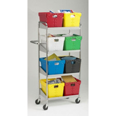Mail Room and Office Carts Medium Four Shelf Mobile Mail Distribution Cart-Totes Not Included