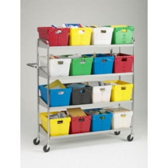 Mail Room and Office Carts Extra Long, Four Shelf Mobile 16 Bin Mail Distribution Cart