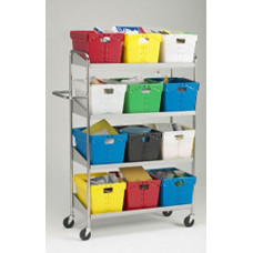 Office and Mail Room Carts Long Four Shelf Mobile Mail Distribution Cart-Totes Not Included