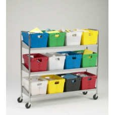 Mail Room and Office Carts Extra long, Three Shelf Mobile 12 Bin Mail Cart