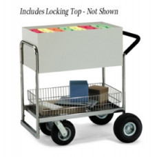 Medium Solid Metal Mail Delivery Cart With Locking Top and Cushion Grip