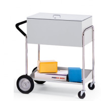 "Medium Metal Mail Distribution Cart with 10"" Rear Tires and Locking Top"