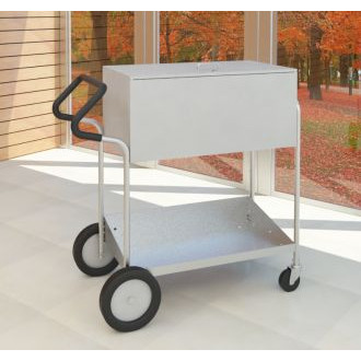"Medium Metal Mail Cart with 10"" Rear Tires, Locking Top, and Cushioned Ergo Handle"