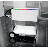 "Medium Solid Metal Mail Delivery Cart with 10"" Rear Tires and Easy Push Handle"