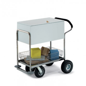 Deluxe Solid Medium Metal Mail Distribution Cart with Locking Top and Cushioned Ergo Handle