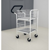 Mail Room and Office Carts Compact Basket Mail Distribution Cart with Double File Baskets with Easy Push Handle.