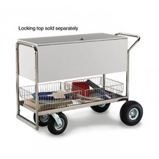 "Charnstrom Mail and Office Carts Long Solid Metal Mail Distribution Cart with 8"" Casters and 10"" Rear Tires"