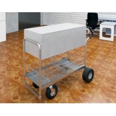 "Charnstrom Mail and Office Carts Long Solid Metal Mail Delivery and File Cart with 8"" Casters and 10"" Rear Tires with Locking Top and Easy Push Handle"