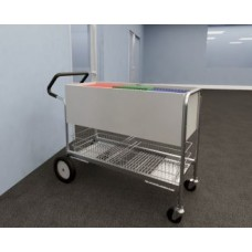 "Long Solid Metal Mail Delivery and File Cart 10"" Rear Tires and Easy Push Handle"
