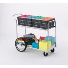 "Mail Room and Office Carts Long Wire Mail Delivery Cart with 16"" Rear Wheels"
